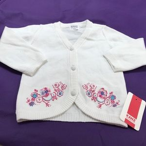 White sweater with flowers baby infant