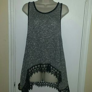 Moon Collection Tops - Grey and black lace top