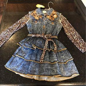 Little Mass Other - Leopard and Jean print Little Mass Dress sz 6