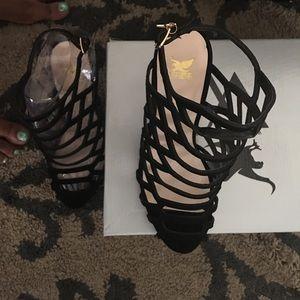 Shoes - Black Suede Laser Cut 85MM heels!