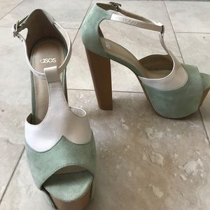 Platform ASOS mint and white heels