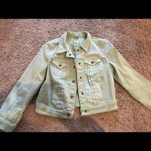Mint green denim crop top jacket