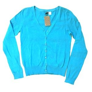 NEW H&M Teal Blue Cardigan Size 4