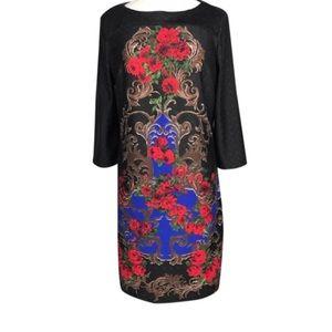 {ECI} Multi-Print Rose 3/4 Sleeve Shift Dress