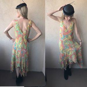 Vintage Silk Ralph Lauren Paisley Print Dress