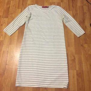 White & Black Striped Shift Dress