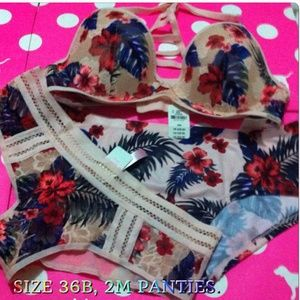 PINK Victoria's Secret Other - NWT VS pink 36B hibiscus cage RACERBACK bra sets