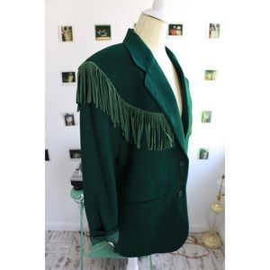 Forest Green Fringed Blazer