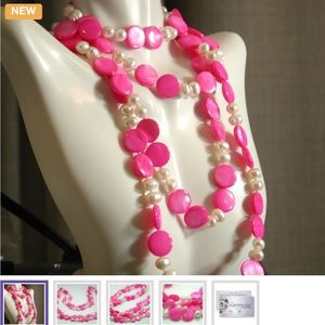 Lucien Piccard Jewelry - 7mm Freshwater Pearls & 11mm Pink Necklace