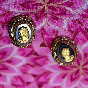Gold & Black Cameo Earrings