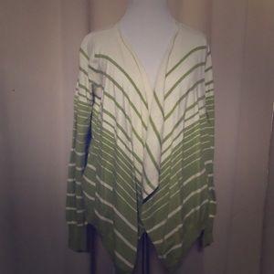 BCBG Maxazria Green Striped Cashmere Sweater