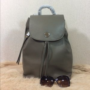 Tory Burch Porcini Gray Leather Brody Backpack