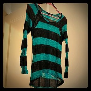 Black and turquoise striped sweater