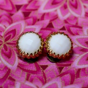 Vintage Jewelry - White Faceted Circle Earrings