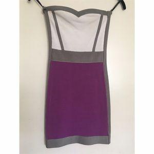 Bebe White/Purple Color Block Dress