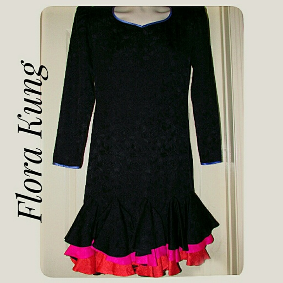 Flora Kung Dresses & Skirts - 100% Silk Black and Multi-Color Ruffled Dress