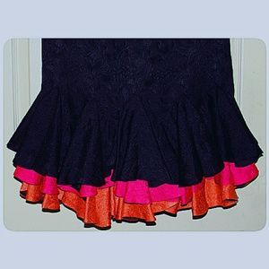 Flora Kung Dresses - 100% Silk Black and Multi-Color Ruffled Dress