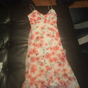 Floral dress pink white and green