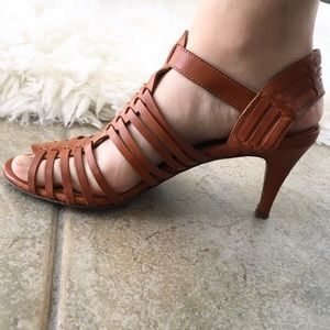 J. Crew Shoes - J. Crew Strappy Brown Leather Heeled Sandals