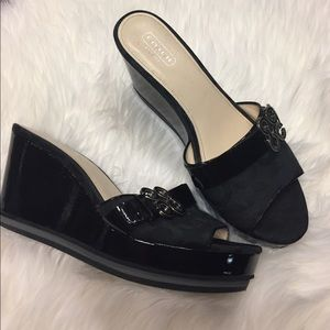 Coach Shoes - Coach Patent leather/logo buckle wedges.