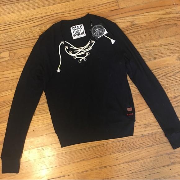 Tops Peace Love World Lace Up Sweatshirt Xs S