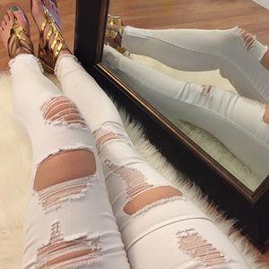 ShopBossyJocey Denim - Val's Ripped White Skinny Jeans