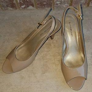 Bandolino Shoes - Bandolino Nude Patent Leather Sling Back Pumps