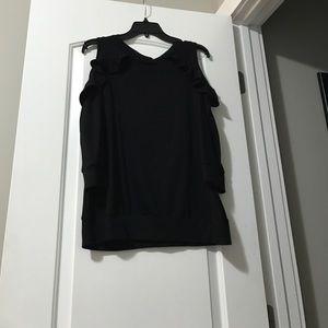760d6b545ea1b bobeau Tops - Bobeau Ruffle Cold Shoulder Sweatshirt
