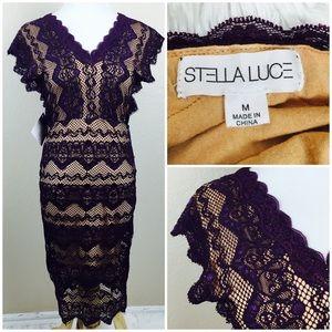 Stella Luce Dresses & Skirts - Purple Lace Nude Bodycon Cocktail Dress (S/M)
