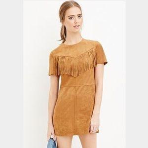 M Faux Suede Fringe Mini Dress Rust