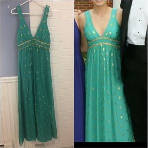 Milly of New York turquoise & gold silk gown maxi