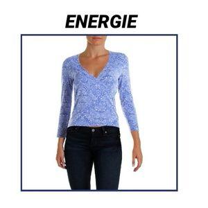 Energie Tops - Blue Paisley Surplice 3/4 Sleeve Top NWT S