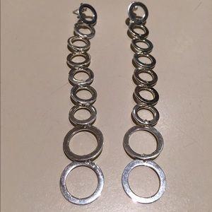 Jewelry - Sterling Silver Drop Circles Long Earrings