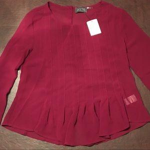 NORDSTROM maroon/wine long sleeve cuffed blouse