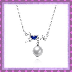 """Boutique Jewelry - 💙Blue """"Oil Drop"""" SS Love/Pearl Necklace💙"""