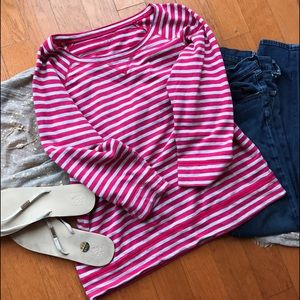 Caslon Tops - Caslon raglan sleeve striped top grey and pink