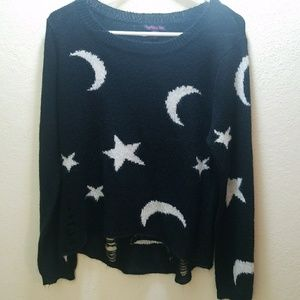 Material Girl Sweaters - Star and moon sweater Black knit