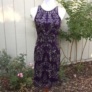 NEW Adrianna Papell Sequined Halter Dress Amethyst
