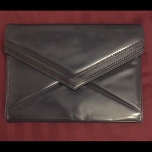 Jay Herbert Vintage Leather Navy Envelope Clutch