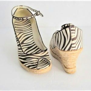 Brown Zebra Wedge Ankle Strap Shoes size 7.5