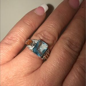 Jewelry - NWT Aqua blue princess cut ring