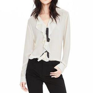 Ruffle front sheer blouse