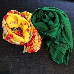 Accessories - Yellow Floral & Green Scarf Bundle