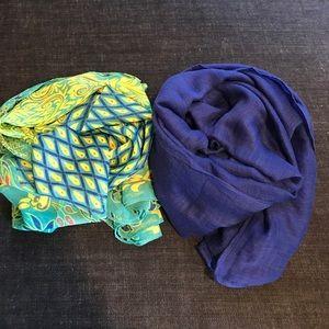 Accessories - Turquoise Peacock & Cobalt Scarf Bundle