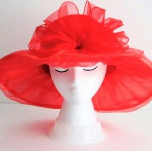 Hat Red Organza Derby Easter Church Wedding