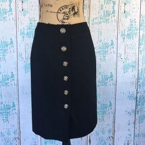 Ann Taylor black button down wool pencil skirt