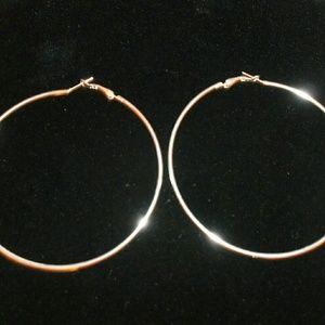 Jewelry - Large Silver Tone Hoop Earrings