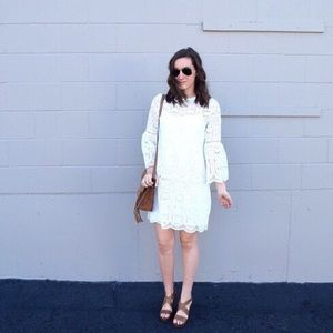 Chicwish white lace dress with white slip underlay
