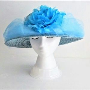 "Blue Straw Hat Derby Easter Wedding 22.5""  ban"