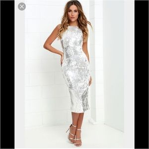 Dress the Population Dresses & Skirts - DRESS THE POPULATION AUDREY WHITE SILVER SEQUIN